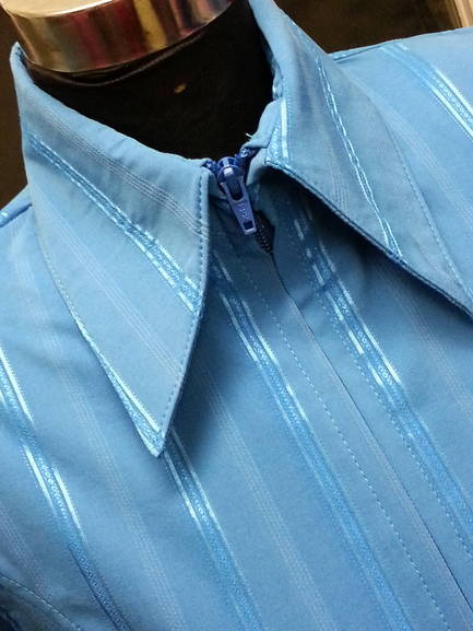 Turquoise Pinstripe Plain Fitted Shirt