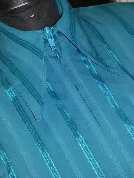 Dark Teal Green Pinstripe Plain Fitted Shirt