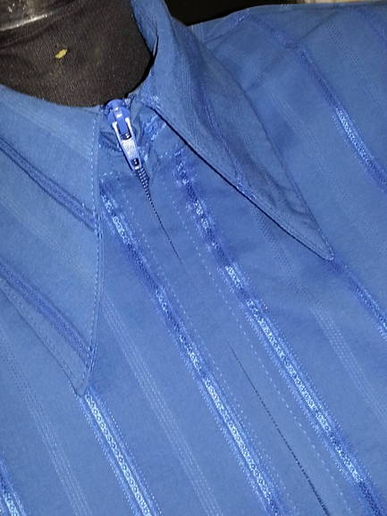 Dark Blue Pinstripe Plain Fitted Shirt