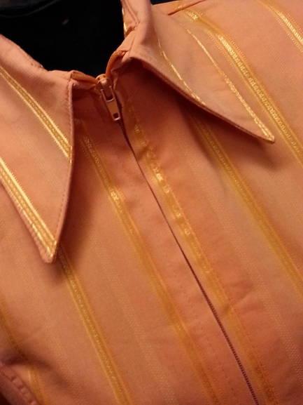 Orange Pinstripe Plain Fitted Shirt
