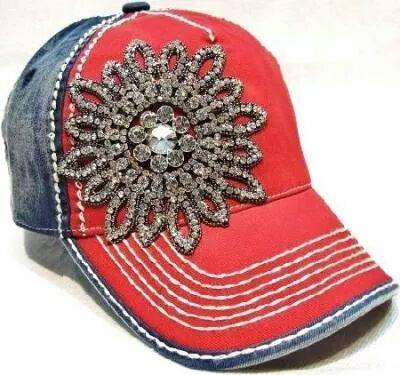 Red and Blue Bling Basball Cap with Large Crystal Flower