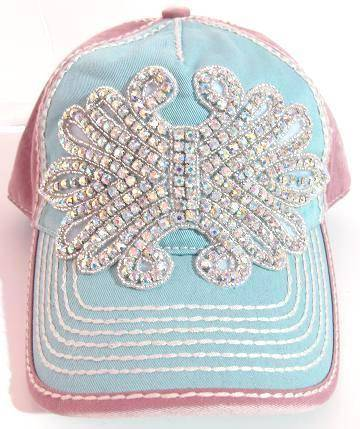Pink and Blue Bling Ball Cap with AB Crystals