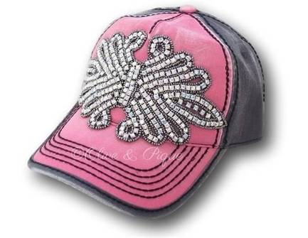 Pink and Grey Bling Ball Cap