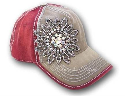 Taupe and Burgandy Bling Ball Cap