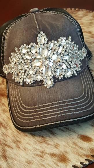 Charcoal and Black Bling Ball Cap