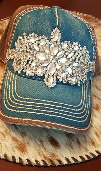 Teal and Brown Bling Ball Cap