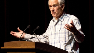 U.S. Rep. Ron Paul, campaigning for the GOP presidential nomination, speaks at a town hall event at Texas A&M University on April 10, 2012.