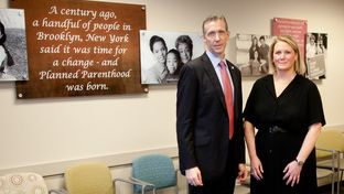 Planned Parenthood leaders Ken Lambrecht and Leslie MacLean photographed in the Planned Parenthood waiting room in Addison, Texas.