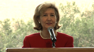 U.S. Sen. Kay Bailey Hutchison, R-Texas, appearing at the LBJ Presidential Library and Museum in Austin.