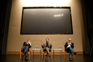 "Evan Smith converses with filmmakers Lawrence Wright and Alex Gibney after the Texas premiere of ""My Trip to Al-Qaeda"" at the Blanton Museum."
