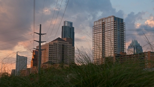 A view of downtown Austin from River St.