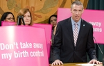 Ken Lambrecht, CEO of Austin's Planned Parenthood, speaks at a press conference held in the Capital on Wednesday, the 23rd of February.