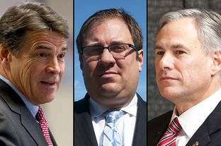 From left to right: Gov. Rick Perry, Republican consultant Eric Bearse, Attorney General Greg Abbott