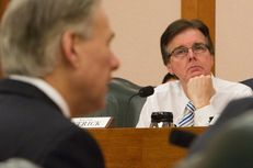 Sen. Dan Patrick R-Houston, listens to Attorney General Greg Abbott during a senate finance committee hearing on February 5, 2013