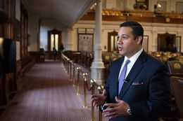 Rep. Jason Villalba, R-Dallas, takes questions from reporters after filing the Protection of Texas Children Act on Feb. 6, 2013.
