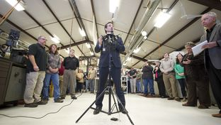 U.S. Sen. Ted Cruz, R-Texas, speaks to LaRue Tactical employees and the press on his support for the Second Amendment on Feb. 19, 2013
