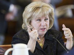 Sen. Jane Nelson R-Flower Mound, listens to testimony during a Health and Human Services committee hearing on February 19th, 2013