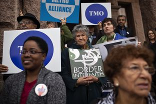 Interfaith groups from across Texas and Democratic state legislators rally in support of Medicaid expansion during a press conference held outside of the Capitol in Austin, Texas.