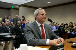Michael Morton testifies in support of Senate Bill 825, which would increase prosecutorial accountability, before the Senate Criminal Justice Committee on March 12, 2013.