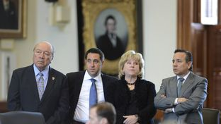 "Senators Juan ""Chuy"" Hinojosa, D-Edinburg, l, Glenn Hegar, R-Katy,  Jane Nelson, R-Flower Mound and Carlos Uresti, D-San Antonio listen to SB 1 budget debate wrap-up on March 20, 2013."