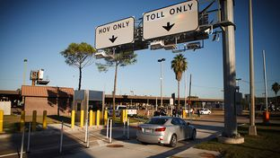 Interstate 45 Gulf Freeway's HOV and Toll lanes exit into Metro's Eastowood Transit Center in Houston Friday, October 19, 2012.