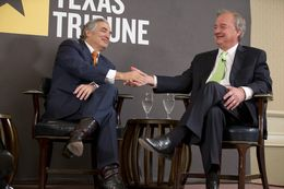 UT System Chancellor Francisco Cigarroa, l, and Texas A&M Chancellor John Sharp at TribLive on March 28, 2013.