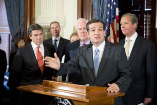 U.S. Sen. Ted Cruz outlines his objections to Medicaid expansion in Texas at a Capitol press conference on April 1, 2013.