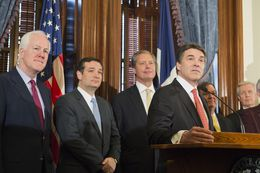 U.S. Sen. John Cornyn, l, U.S. Sen. Ted Cruz, Lt. Gov. David Dewhurst and Gov. Rick Perry at a Capitol press conference on Medicaid on April 1, 2013.