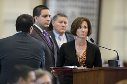 State Rep. Lois Kolkhorst, R-Brenham, at the back mike during SB 1 debate in the House on April 4, 2013.