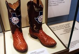 Cowboy boots on display at the Bush Presidential museum