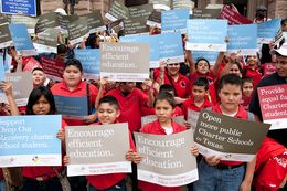 Texas charter school children and supporters rally Wednesday at the Texas Capitol to lobby the Legislature for more funding as the 83rd session winds down.