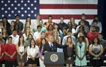 Manor New Tech High students listen to President Barack Obama's speech on education initiatives on May 9, 2013.