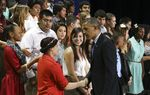 President Barack Obama greets Manor New Tech students after his remarks at the technology high school on May 9, 2013.