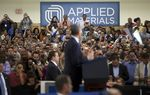 President Barack Obama speaks at Applied Materials, Inc., one of the country's leading manufactures of advanced semi-conductors, in Austin on Thursday, May, 9. The President visited the plant to promote job growth and an increase in domestic manufacturing.