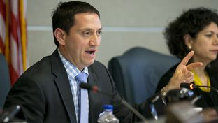 State Rep. Trey Martinez-Fischer, D-San Antonio, grills UT Regent Brenda Pejovich at the Select Committee on Transparency in State Operations on May 9, 2013.