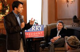 Bobby Jindal with Rick Perry in Maquoketa, Iowa - Dec. 20, 2011