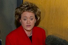 Travis County District Attorney Rosemary Lehmberg speaks to members of the media following a November 2010 trial.