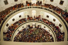 Protesters filled the Texas Capitol in June 2013 when state Sen. Wendy Davis, D-Fort Worth, filibustered a bill on abortion regulations.