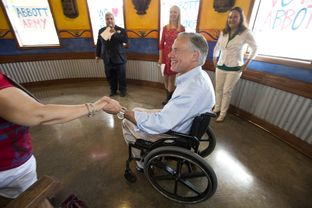 Greg Abbott at El Pato restaurant during a campaign stop in McAllen on July 15, 2013.