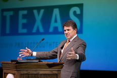 Gov. Rick Perry discusses the merger of UT-Pan American and UT-Brownsville in a speech in Brownsville on July 16, 2013.