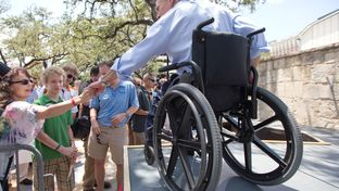 Greg Abbott at a campaign stop after announcing his run for governor.