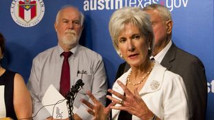 U.S. Health and Human Services Secretary Kathleen Sebelius met in Austin with leaders from the health care industry to discuss the Affordable Care Act on Aug. 8, 2013.