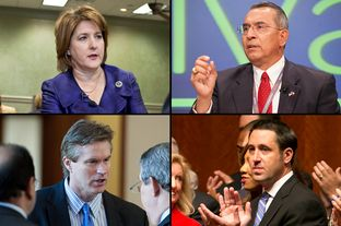 GOP candidates for state comptroller. Clockwise, from top left: former gubernatorial candidate Debra Medina, former state Rep. Raul Torres, state Sen. Glenn Hegar and state Rep. Harvey Hilderbran.