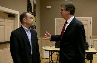 Sen. Dan Patrick speaks with Thomas Ratliff before a debate on CSCOPE at UT Tyler on August 24th, 2013