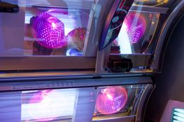 Kori Polston, 20, a UT student undergoes an indoor tanning session in an ultraviolet tanning bet at Aruba Tan salon in Austin, Texas, Aug. 27, 2013.