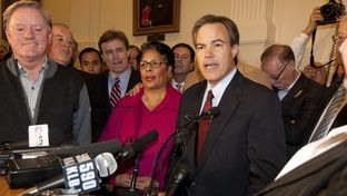 Joe Straus, R-San Antonio, speaks in the Capitol Rotunda on January 5, 2009 supported by state representatives wishing to elect a new Speaker of the House.