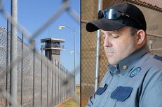 Major Michael Gruver in recreation area of Clements Unit (r) and a Guard tower near front gate of Clements Unit, Texas Department of Corrections (l).