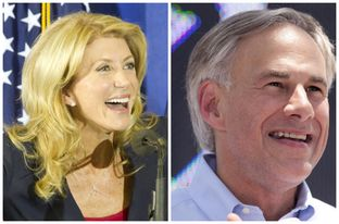 Wendy Davis and Greg Abbott at their respective announcements for governor of Texas.