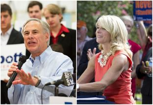 Gubernatorial candidates Greg Abbott (l.) and Wendy Davis (r.).