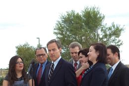 House Speaker Joe Straus, joined by members of El Paso's legislative delegation, promotes Proposition 6 on Oct. 28, 2013, in El Paso.